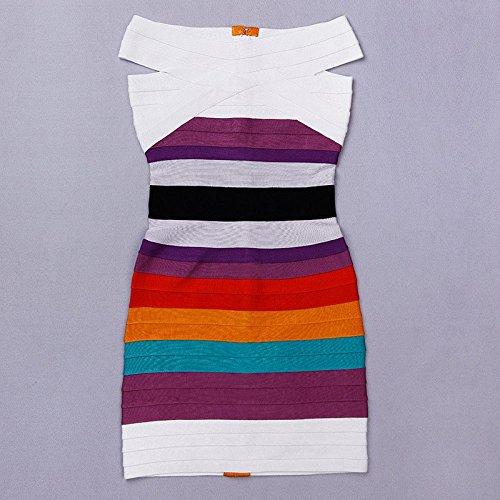 HLBandage Gradient Multicolor Off Shoulder Colorful Rayon Bandage Dress Blanco