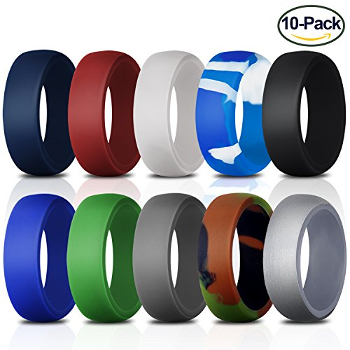 Silicone Wedding Ring for Men, 10 Pack Premium Medical Grade Wedding Bands Durable Comfortable Antibacterial Rubber Rings, Black White Blue Silver Gray, Made by - Blue Black Silver