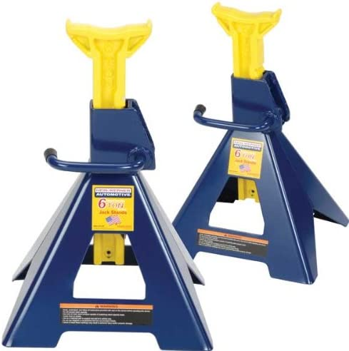 Hein-Werner Blue/Yellow Jack Stands, 6 Ton Capacity (Set of 2)