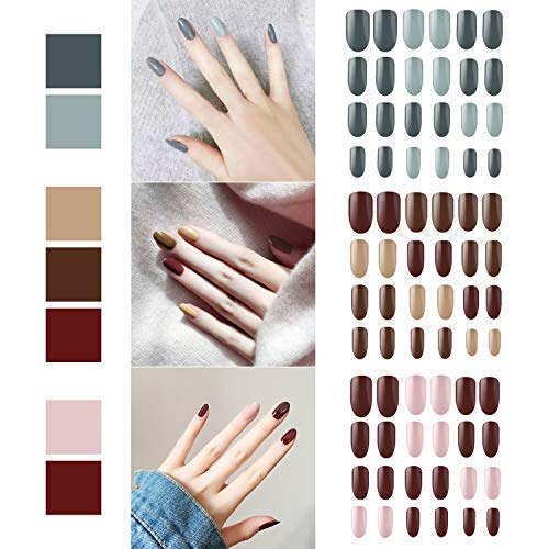 72pcs False Nails, Segbeauty Press on Nail Fake Gel Nail Tips, Full Cover Artificial Acrylic Nails, Manicure Nails, 3 Nail Sets with 6 Nail Buffer Files Different Designs, 12 Sizes Each