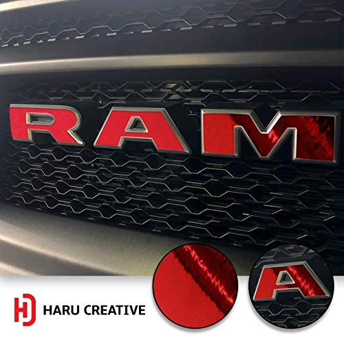 (Haru Creative - Front Hood Grille Emblem Logo Letter Overlay Vinyl Decal Sticker Compatible with and Fits Ram Rebel 1500 2019 - Chrome Red)