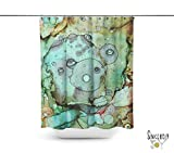 Green abstract art shower curtain. Boho gypsy style bathroom accessories. Add a matching bath mat! Artwork by mixed media artist C.Cambrea.