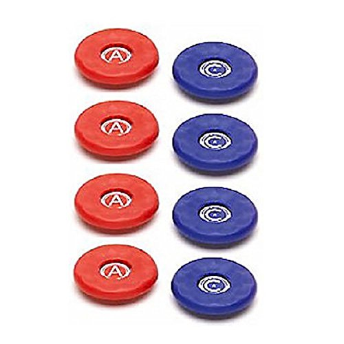 Replacement American Medium Table Shuffleboard Puck Weight Top Caps-- Set of 8 caps - Red/Blue - Caps/Tops Only