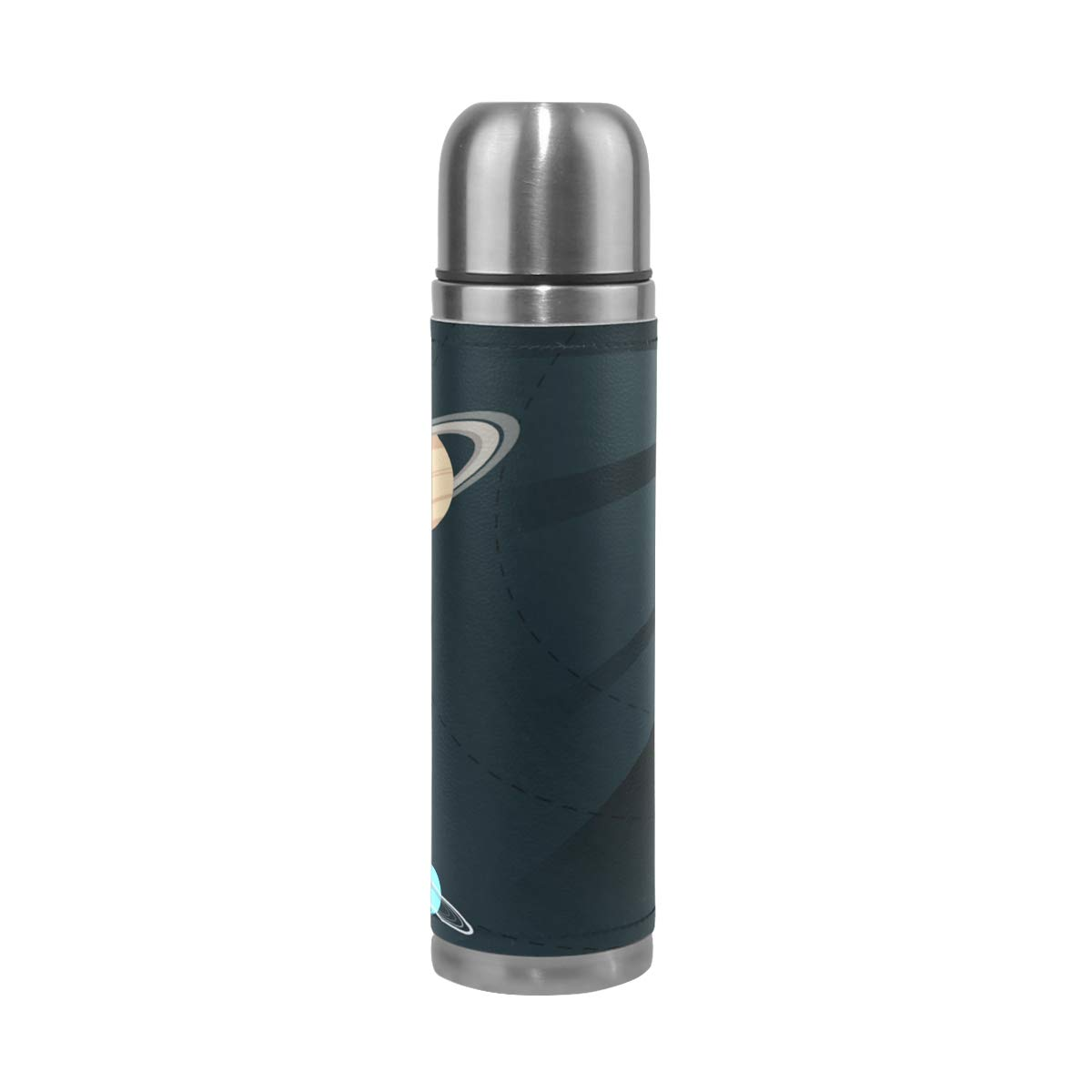 OuLian Thermos Solar System Cycling Insulated Stainless Steel Water Bottle Leak Proof Thermos Leather Cover 17 Oz