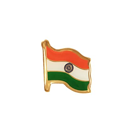 5fb7091754 Buy The Flag Shop Indian Flag Brass Laminated Lapel Pin/Brooch/Badge for  Clothing Accessories - Medium Size Online at Low Prices in India - Amazon.in