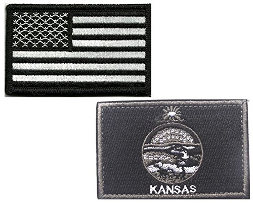 HFDA 2 piece US Flag and BW KANSAS Flag Patches Velcro Moral