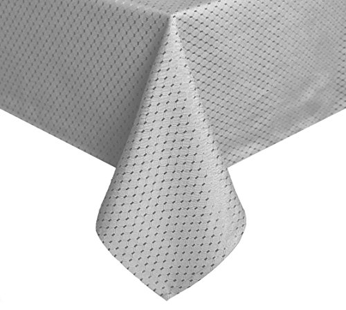 (Tektrum Heavy Duty 70 X 70 inch Square Elegant Waffle Weave Check Jacquard Tablecloth Table Cover -Waterproof/Stain Resistant/Wrinkle Free - Great for Dinner, Banquet, Parties, Wedding (Grey))