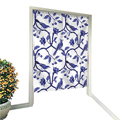 Flowers Hawaiin Blue (Philiphome Noren Style Doorway Curtain Blue White SPR Flowers Doorway Curtain 33.5