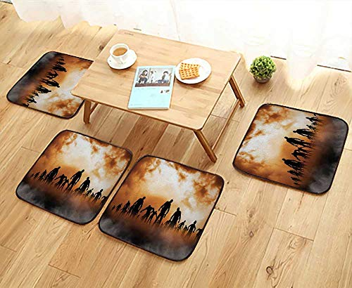 Leighhome Simple Modern Chair Cushions Zombies Dead Men Body Walking in The Doom Mist at Dark Night Sky Reusable Water wash W27.5 x L27.5/4PCS - Dead Poker Walking Set