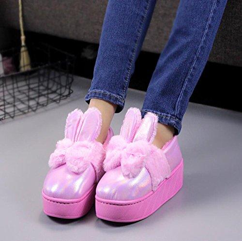 tamaño Pink Zapatillas de algodón Zapatos Dark DANDANJIE Rosado de Antideslizantes Terciopelo Orejas Cuero Invierno Color Mujer de Calzado Conejo 39 de más caseros cálido de Lindo Zapatillas fqxwSg