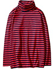 Hotmiss Men's Turtleneck Striped Hipster Hip Hop Pullover Long Sleeve T-Shirt Top (Red, Large)