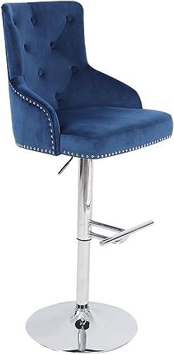 Irene House Velvet Fabric Bar Stool Tufted Upholstered Barstool