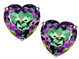 Star K 7mm Heart Mystic Rainbow Quartz Earrings Studs Sterling Silver