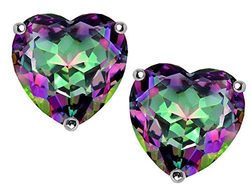 Star K 7mm Heart Mystic Rainbow Quartz Earrings Studs Sterling Silver