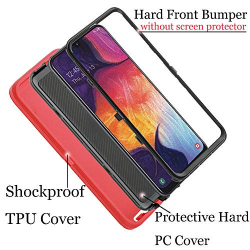 Co-Goldguard Case for Samsung Galaxy A50 / A50s Heavy Duty Cover [NO Screen Protector] 3 in 1 Hard Shockproof Drop-Proof Shell,Red