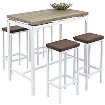 Angie Counter Bar Set 5 Piece Breakfast Table And Chairs Bistro Pub Kitchen  Dining Stools