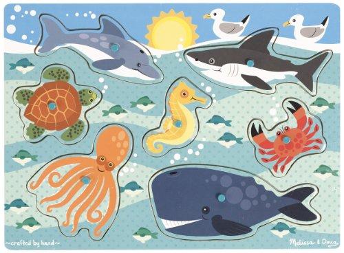 Melissa & Doug Sea Creatures Wooden Peg Puzzle