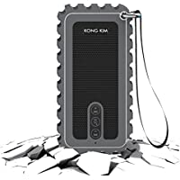 KONG KIM Portable Outdoor Bluetooth Speaker, Water Resistant IP67 Wireless Shower Speaker with Microphone, 10W Output Power with Enhanced Bass - Gray