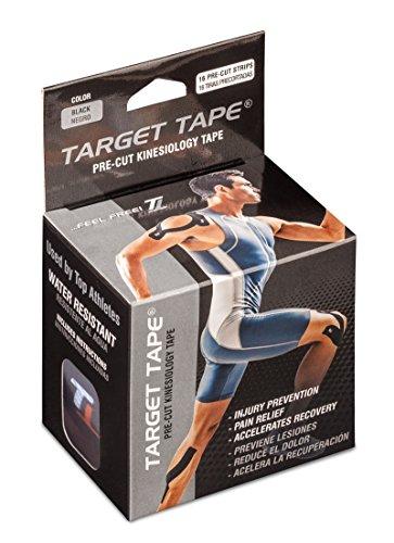 TT TARGET TAPE Premium Athletic Kinesiology Roll Pre-Cut Cotton Elastic Strips - Black