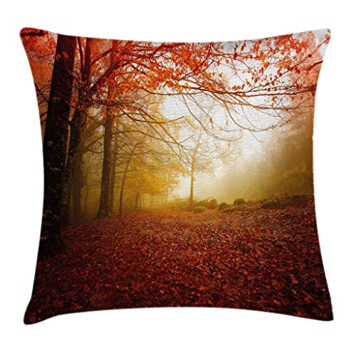 Ambesonne Nature Throw Pillow Cushion Cover, Enchanted Autumn Forest in Foggy with Faded Shady Leaves Misty Fall Scenery, Decorative Square Accent Pillow Case, 18 X 18 Inches, Sepia Vermilion