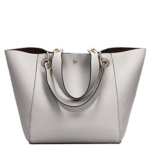 Mujer Estilo Nuevo Retro Moda Gran Capacidad Color Sólido Solo Hombro Grey