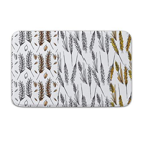 Packers Green Dart Bay (DKISEE Indoor Outdoor Entrance Rug Floor Mat Bathmat Wheat Stalk Pattern Set Doormat, 15.7