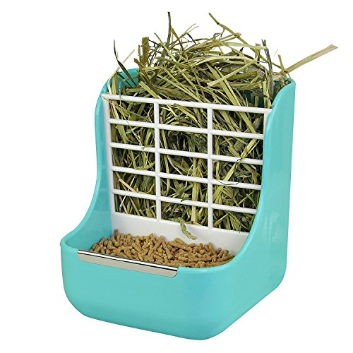 - sxbest Rabbit Feeders Hay Food Bin Feeder, Grass and Food Double Use rabbit Feeder,Hay Feeders Supply for Rabbit Guinea Pig Chinchilla (Blue)