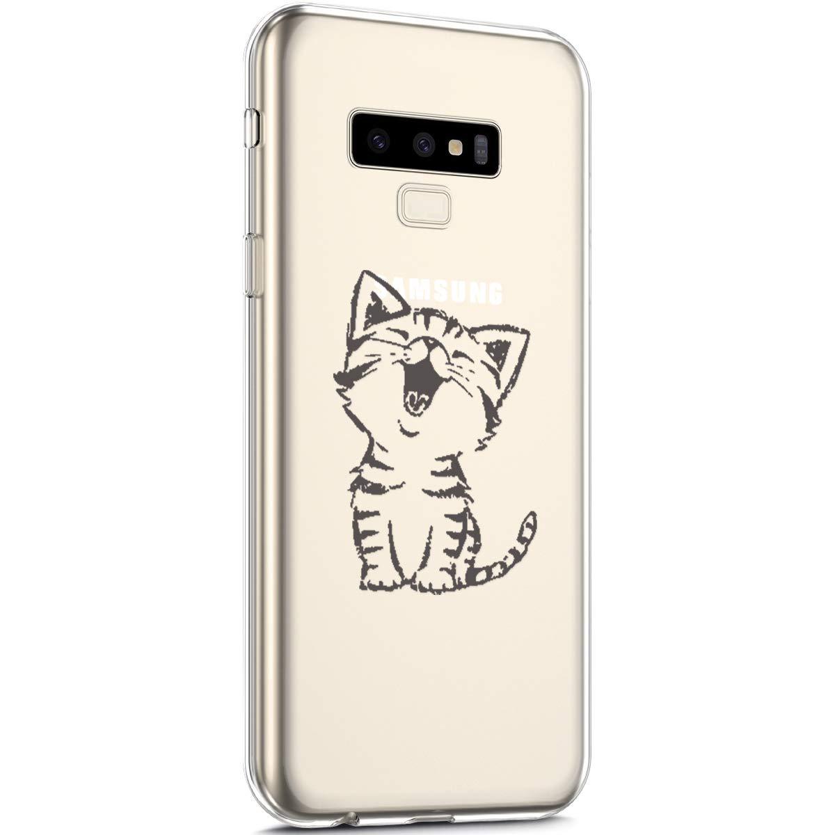 Surakey Cover Samsung Galaxy Note 9, Custodia Silicone Trasparente con Disegni Fiore di Ciliegio Cartoon Divertente Ultra Sottile Leggero Protettiva Skin Crystal Clear Cover per Galaxy Note 9,Giraffa