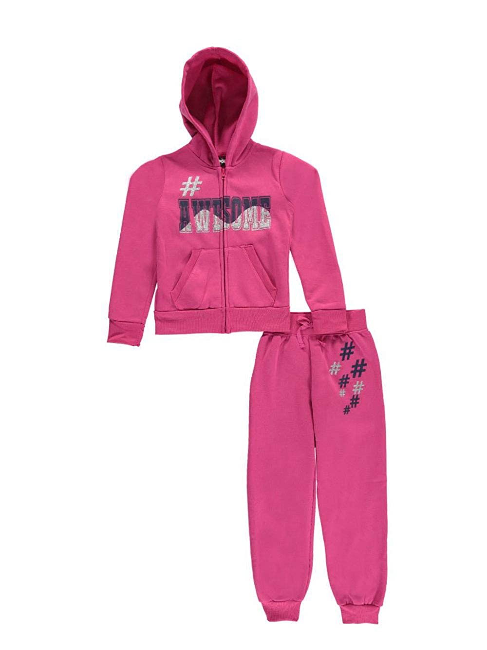 Chillipop Big Girls' #Awesome 2-Piece Fleece Sweatsuit 10-12