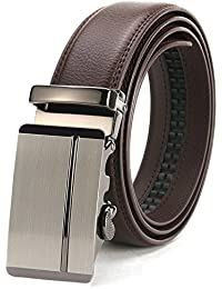 Ratchet Belt for Men Sliding Automatic Buckle Designer Leather Brown Strap 35mm width