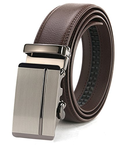 ITIEZY Ratchet Belt for Men Sliding Automatic Buckle Leather Dress Belt Brown Strap 35mm Width