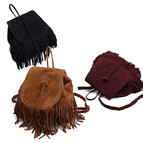 LUI SUI- Valentine's Day Gift Women's Fringed Backpack Tassel Shoulder Bag by LUI SUI (Image #3)