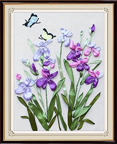 Wandafull Ribbon embroidery Kit Handmade Orchid green leaves (No frame)