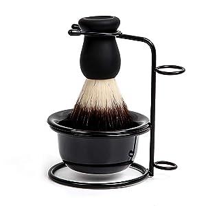 OOCOME 3 in 1 Shaving Brush Set with Shaving Soap Bowl & Stainless Steel Shaving Stand Shaving Cleaning Tool Kit for Men Salon Home Travel Use