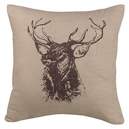 Elk Accent - HiEnd Accents PL5113 Fairfield Linen Elk Bust Pillow