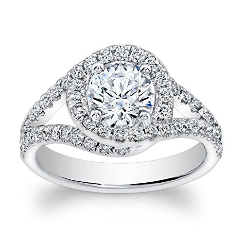 Ladies 14kt vintage antique split band halo engagement ring w/natural 1ct Round White Sapphire ctr and 0.60 ctw G-VS2 diamonds