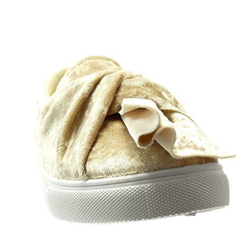 Angkorly - Scarpe da Moda Sneaker Mocassini low donna nodo Tacco tacco piatto 0 CM - Beige