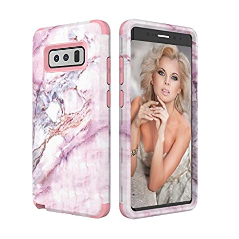 Galaxy Note 8 Case, Asstar 3 In 1 [Soft Silicone + Hard PC] Unique Marble Design Slim Flexible Anti-Scratch Shockproof Anti-Finger Protective Cover Case for Samsung Galaxy Note 8 2017 (Rose (Otterbox Privacy Screen Iphone 5)