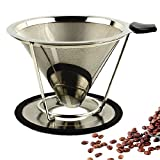 Paperless Coffee Maker Filter Stainless Steel Premium Pour Over Paperless Drip Cone Double-layer (Steel Natural Color 2 Cup) Review