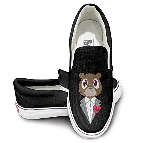EWIED Unisex Classic Canye Gentle Cute Bear Slip-On Shoes Black Size41 (Birds Of War Costume)