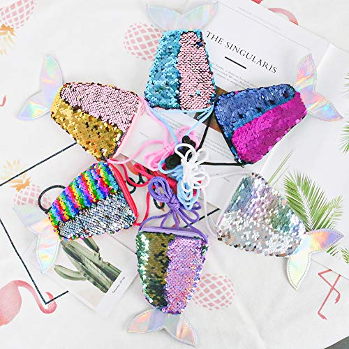 SallyFashion Meerjungfrau Geldbörse, 6 Stück Meerjungfrau Tasche Pailletten Geldbörse Kinder für Geburtstag Geschenk Mitgebsel Party