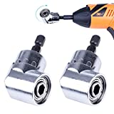 NOUVCOO 2PCS Right Angle Drills,105 Degrees Angle Extension Power Screwdriver Drill Attachment 1/4 inch Hex Magnetic Bit Screwdriver Socket Holder Adapter NC05