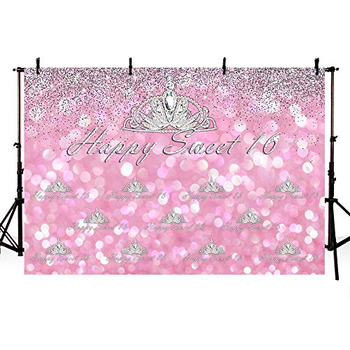 COMOPHOTO 7x5ft Crown Happy Sweet 16 Photo Background Diamond Pink Glitter Birthday Party Banner Photography Backdrops for Photobooth Props