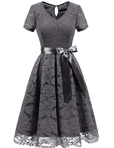 DRESSTELLS Women's Elegant Bridesmaid Dress Floral Lace Dresses Short Sleeves