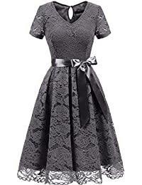 Women's Elegant Bridesmaid Dress Floral Lace Dresses Short Sleeves