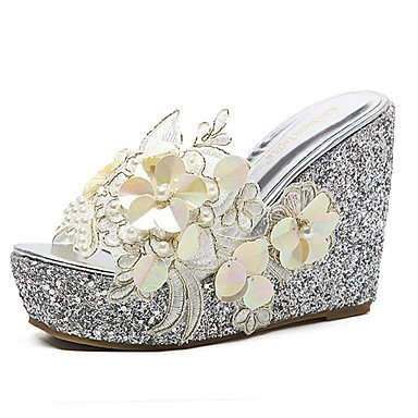 Colors of Rainbow RainbowElk Women's Sandals Summer Club Shoes PU Dress Wedge Heel Applique, blushing pink, ()