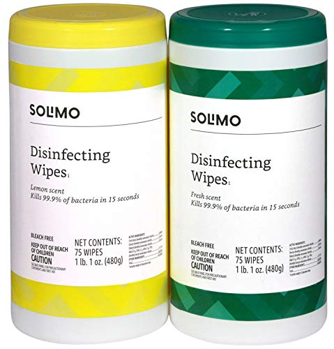 Amazon Brand – Solimo Disinfecting Wipes, Lemon Scent & Fresh Scent, 75 Wipes Each (Pack of 2)