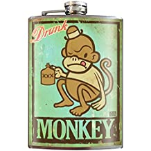 Drunk Monkey Cute Funny Flask - 8oz Stainless Steel Flask - come in a GIFT BOX - by Trixie & Milo