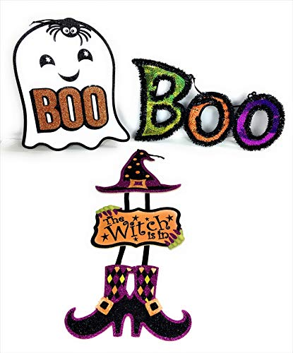 Greenbriar Halloween Home Decorations| Witch and Ghost Wall Hangings and Boo Sign| Bundle Set of 3 Items ()