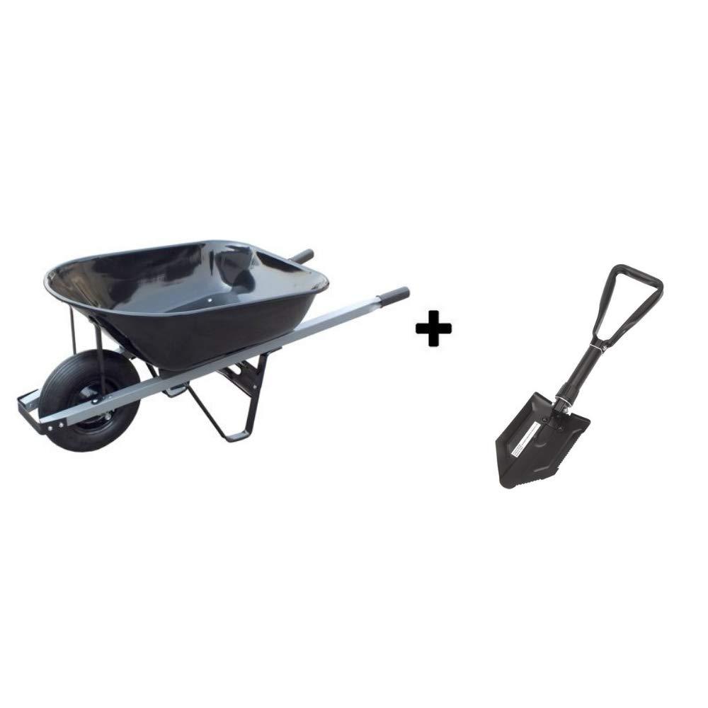 United General 6 Cubic Feet 18 Gauge Steel Tray Contractor Wheelbarrow Shovel